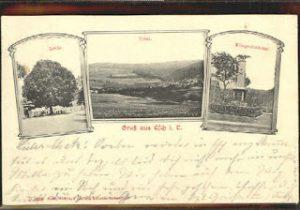 Ansichstkarte mit Lindenbaum und Kriegerdenkmal
