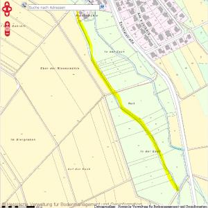 Kartenmaterial zeigt einen Arbeitsgraben zur Riesenmühle