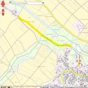 Kartenmaterial zeigt den Verlauf des Mühlengrabens zur Hirtesen Mühle