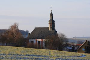 Evangelische Kirche, etwa 2010, vom Borhain aus gesehen