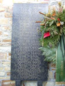 Die Tafel für die Opfer des 1. Weltkrieges am Ehrenmal