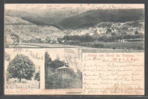 Ansichtskarte mit Linde und Äppelwoifelsen