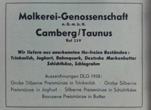 Anzeige der Molkerei-Genossenschaft Camberg aus dem Heimatjahrbuch 1959