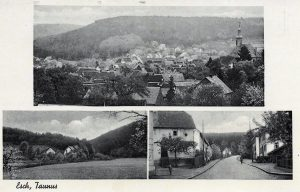 Ansichtskarte mit Ortsansicht, Emstalstraße und Frankfurter Straße