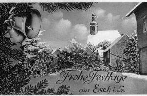 Weihnachtliche Grußkarte aus Esch, Foto von R. Wick
