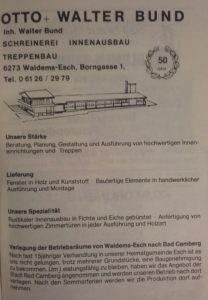 """Anzeige """"Schreinerei Bund"""", Festschrift """"100 Jahre Chrogesang in Esch, 1983"""