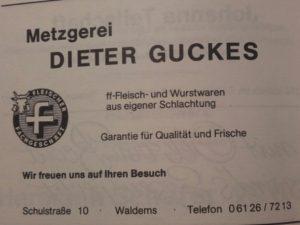 """Anzeige """"Metzgerei Guckes"""", Festschrift """"100 Jahre Chrogesang in Esch, 1983"""