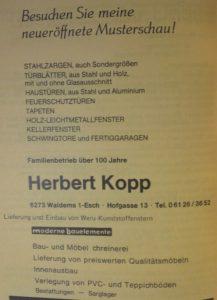 """Anzeige """"Schreinerei Herbert Kopp"""", Festschrift """"100 Jahre Chrogesang in Esch, 1983"""