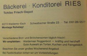 """Anzeige """"Bäckerei Konditorei Ries"""", Festschrift """"100 Jahre Chrogesang in Esch, 1983"""