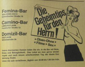 """Anzeige """"Femina Bar"""", Festschrift """"100 Jahre Chrogesang in Esch, 1983"""