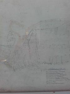 Katasterkarte mit Ackerland im Bereich der heutigen Frankfurter Straße / Eschtalstraße / Kohlberg. Original im DGH Esch, Clubraum 2