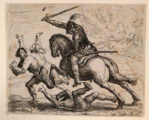 """""""Der geharnischte Reiter"""" von Hans Ulrich Franck ([1]) [Public domain], via Wikimedia Commons - Ein Reiter mit Rüstung verfolgt im Dreißigjährigen Krieg flüchtende Bewohner, nachdem deren Dorf ausgeplündert worden war."""